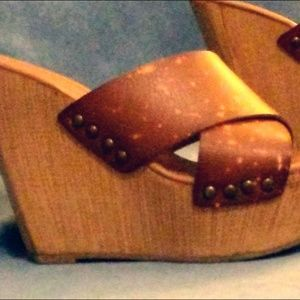 Mossimo Supply Leah Criss Cross Wooden Slide Wedge